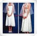 Free Shipping! 2017 New  Lace Strapless Tea Length Women Vestidos White / Ivory Wedding Dresses