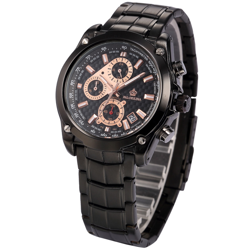 где купить  MG. ORKINA Black Stainless Steel Band Auto Date Chronograph Stopwatch Japan Movement Quartz Watch Horloge Men Sports Watches  по лучшей цене