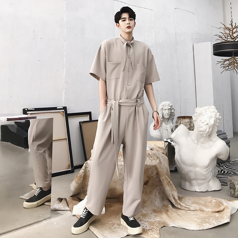 2018 Neue Männer Kleidung Friseur Mode Laufsteg Alternative Krawatte Design Verbunden Hosen Overall Plus Size Kostüme