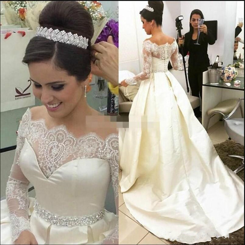 Customized A Line Dress For Wedding Full Sleeves Lace Satin Wedding Gowns With Sequins Crystals Button Belt Formal Bridal Gowns