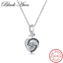 [BLACK AWN] Fine Necklace Women Genuine 100% 925 Sterling Silver Jewelry Vintage Heart Necklaces&Pendants Bijoux Femme P020