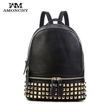 Classic Famous Brand Women Backpacks Genuine Leather Designer Backpack For Lady Fashion Rivet Double Shoulders Bags Cow Leather new genuine leather backpack chinese style women embroidery phoenix shoulder bag famous designer rivet classic national daypack