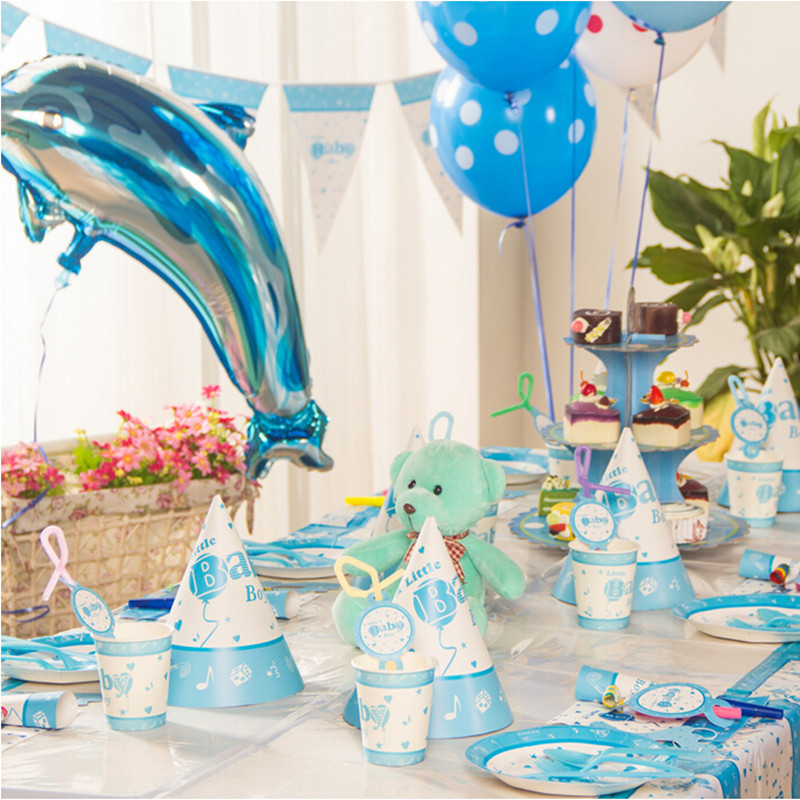 Online buy wholesale baby boy shower themes from china for Baby birthday decoration photos