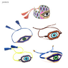 Handmade MIYUKI Seed Beads Evil Eye Woven Charm Bracelet Wom