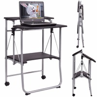Giantex Folding Computer Desk Laptop PC Table Modern Wood Workstation Rolling Study Writing Desk With 2