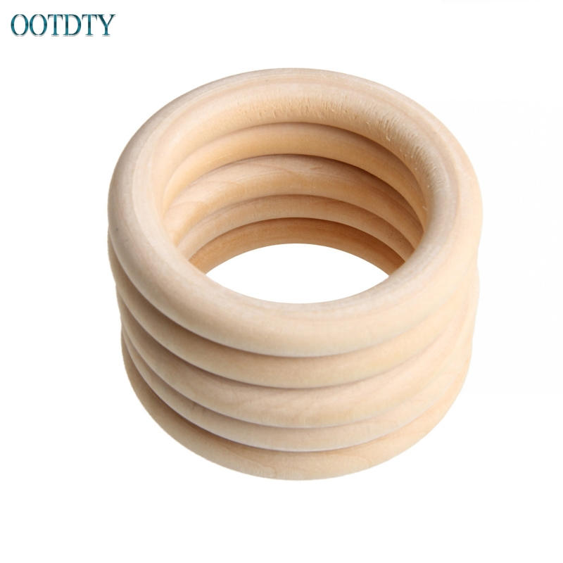 Hot Selling New 5pcs 70mm Baby Wooden Teething Rings Necklace Bracelet DIY Crafts Natural #330