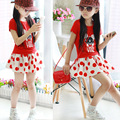 Free Shipping! Retail Girls Clothing Sets Summer Red Minnie Top & Dot Cute Skirt 2 Pieces for Kids Girls