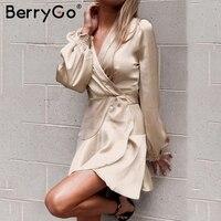 BerryGo Champagne satin v neck women dress Elegant autumn beach sexy dress Winter long sleeve irregular mini dress vestidos