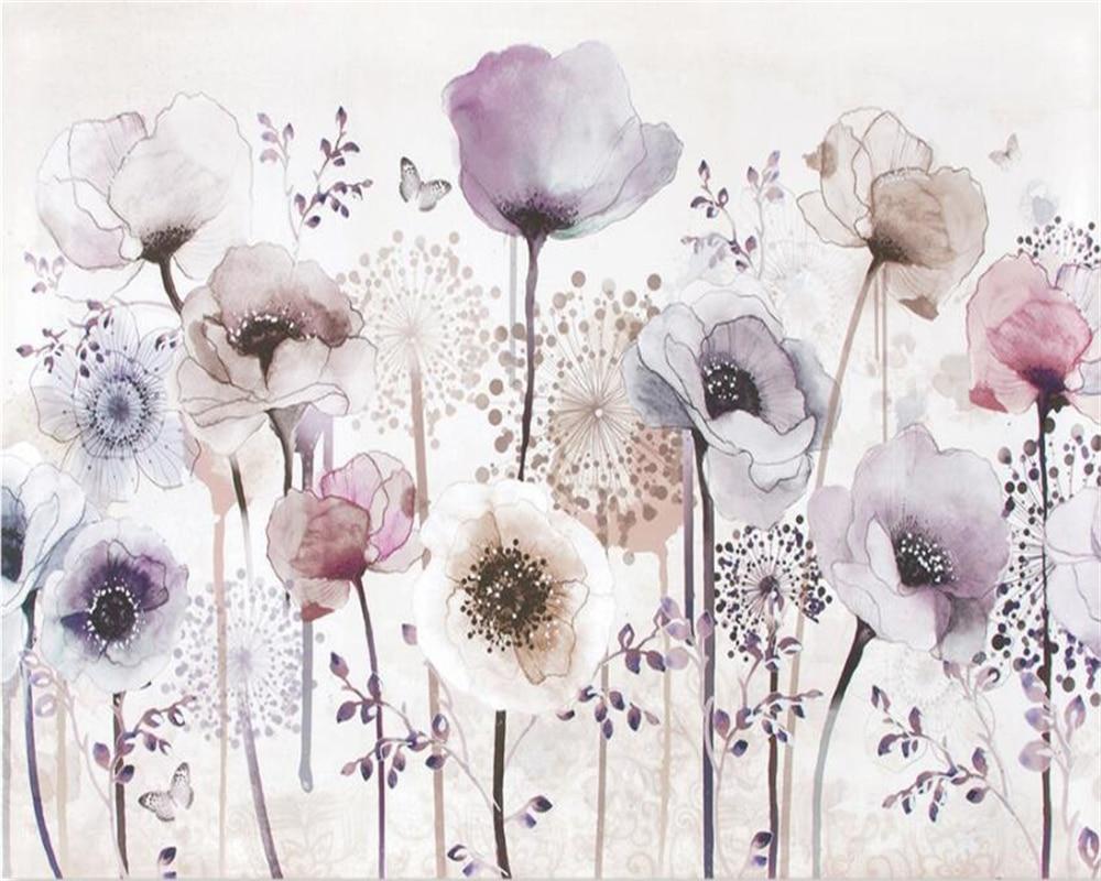 Купить с кэшбэком Beibehang Custom Photo Wallpaper Mural Watercolor Hand Painted Style Lavender Flower TV Background Wall 3d wallpaper papel tapiz