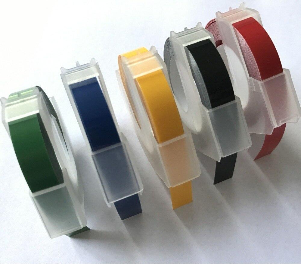 20 Pz/lotto Etichette Compatibili DYMO 3D di Plastica Goffratura Bianco stampa su Giallo 9mm * 3 m per Goffratura Etichetta Makers