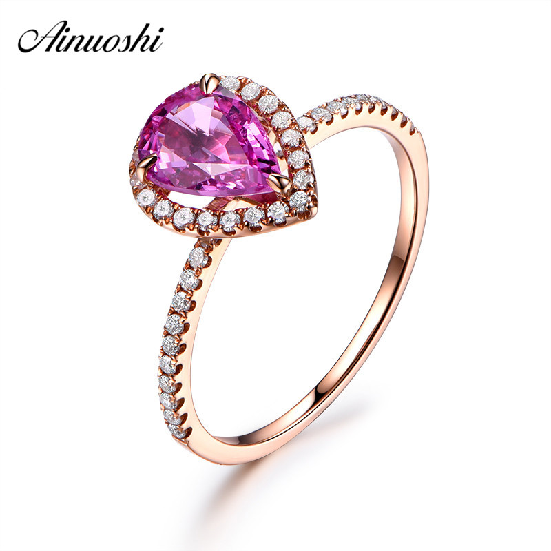 AINUOSHI 1.5 Carat Pear Cut Red Sona Bridal Halo Rings 925 Sterling Silver Rose Gold Color Women Water Drop Silver Jewelry Rings
