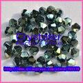 Envío libre al por mayor 5301 de Grado AAA Verde Metálico de color 3mm 4mm 6mm cuentas de Cristal Bicono