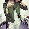 A principios Del Otoño Nuevo Retro Verde Militar chaqueta Chaqueta Abrigos de Vestir Exteriores de Las Mujeres de Moda Ante el Ocasional 3 color