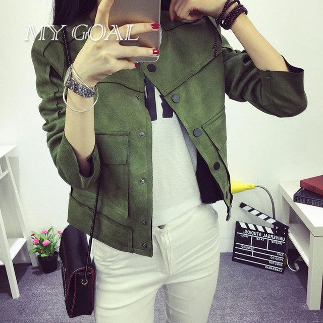 No início do Outono Nova Retro Verde Militar Jaqueta Moda Camurça Ocasional Outerwear jaqueta Coats Mulheres 3 cores