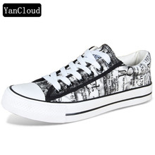 New 2018 Summer Autumn Hand Painted Men Vulcanize Shoes Breathable High Quality Canvas Shoes Men's Flats Lace Up Footwear