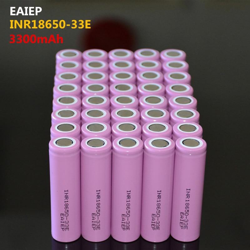 40PCS 100% New Original INR18650-33E 3.7 V 3300 Mah 18650 Lithium Rechargeable Battery EAIEP Flashlight Batteries