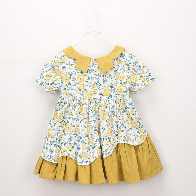 2018 new Baby Girl clothes Dress Pattern Turn-down collar Kids Children  cotton Summer causal Frill a-line Button print Dresses e21d9a0bf19c