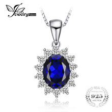 JewelryPalace Oval 3.2ct Princess Diana William Pendant Created Blue Sapphire Pendant 925 Sterling Silver Fashion Women Jewelry