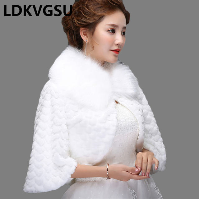 2018 New Bride Shawl Jacket Autumn Winter Wedding Dress Warm Wool Cloak Women White Short