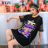 Loose plus size Korean Style T Shirt Dress Harajuku Cotton O Neck Black Mesh Sleeve Streetwear Long Tops Tee Vestidos SZ6272