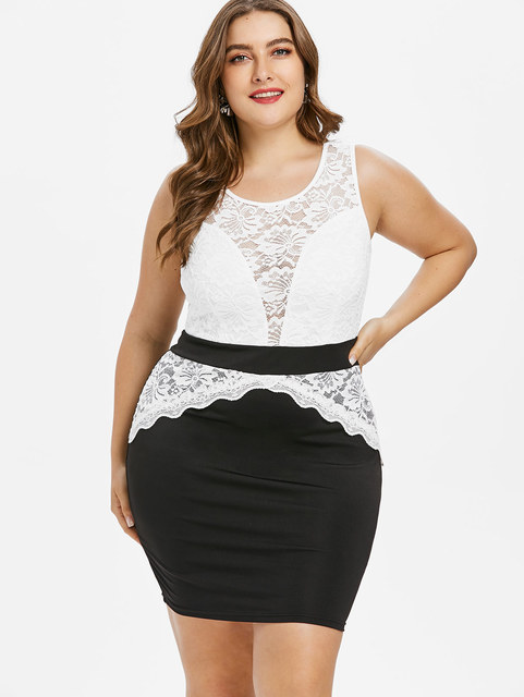5xl Plus Size Color Block Floral Lace Trim Bodycon Dress Two Tone  Sleeveless Mini Fitted Bodycon 95995662f45e
