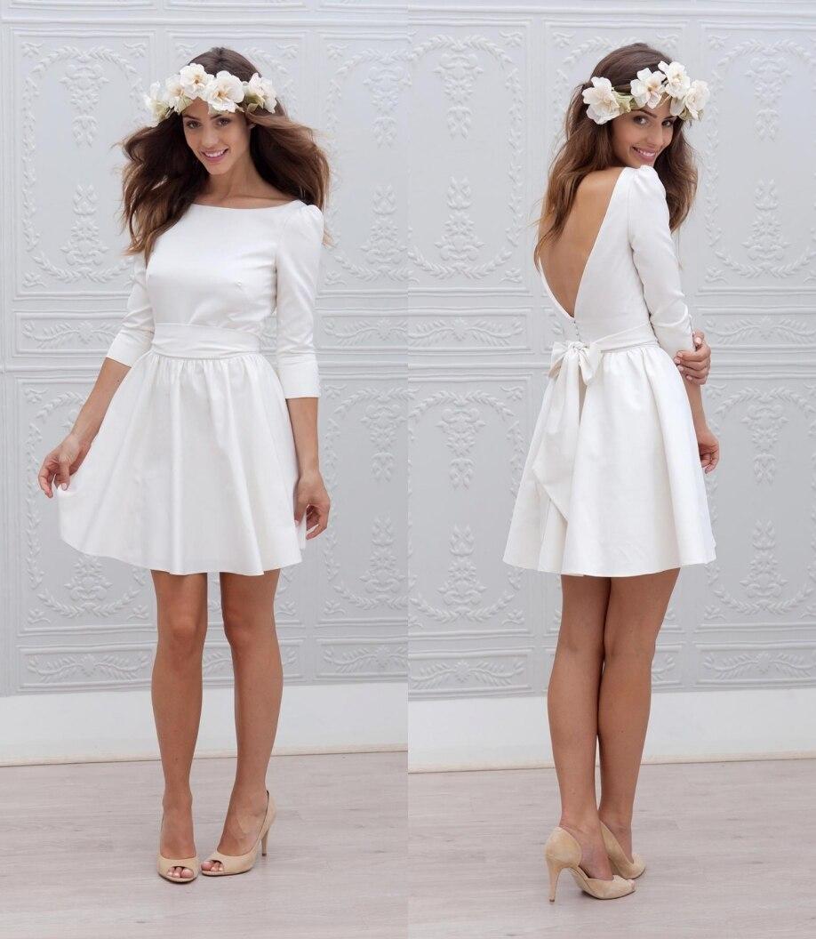 designer short mini reception wedding dresses 2017 a line 34 sleeves sash simple