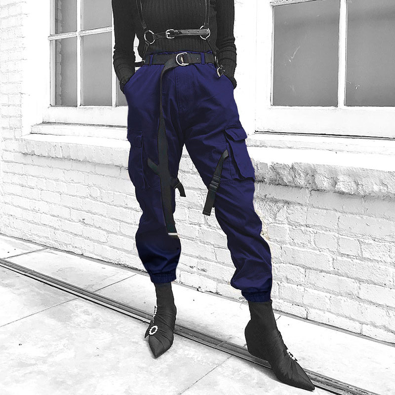Women Street Fashion Cargo Pants Blue High Wasit Casual Pencil Pant with Buckle Pocket Belt Loose Joggers Female Straight Pants