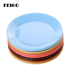 FEIGO 1Pc Dinner Plates Colorful Tableware Fruit Saucer Food-grade Plastic Snack Dish Kitchen Supplies Dishes F511