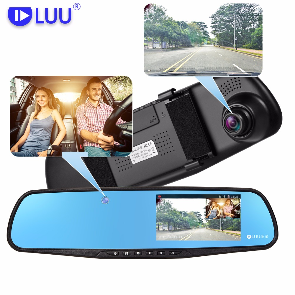 LUU 1080P FHD Car Dvr dash Hidden Built-in Camera 5.0 Inch IPS Rearview Mirror Digital Video Recorder Dual Lens Camcorder
