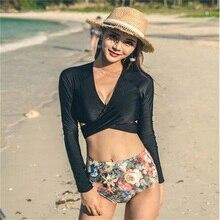 2017 New Sexy Bikinis Set Swimsuit Woman Push Up High Waist Bathing Suit Strappy Swimwear Long Sleeve Crop Top Beach Suit