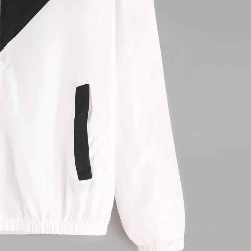 春の秋のファッションフード付き 2 トーンウインドブレーカージャケットジッパーポケットカジュアル長袖 Feminino コート生き抜くコート 18AUG20