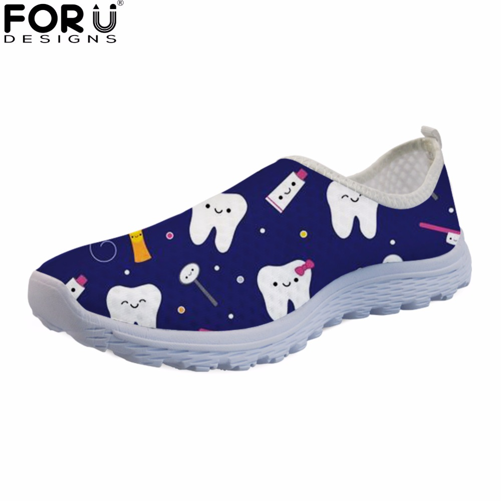 FORUDESIGNS Dentista Zapatos Mujer Cute Dentist Cartoon Pattern Women Sneakers Summer Flats Breathable Mesh Shoes for Ladies instantarts fashion women flats cute cartoon dental equipment pattern pink sneakers woman breathable comfortable mesh flat shoes
