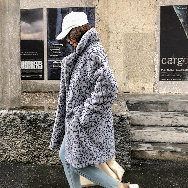Imprimé D'hiver Coréenne Long Fourrure Fausse Gris Femme Version jaune Lâche Jaune Pardessus Faux Longue Léopard Épais Couleur Femelle Chaud Peluche gris En Zwrq4AZ