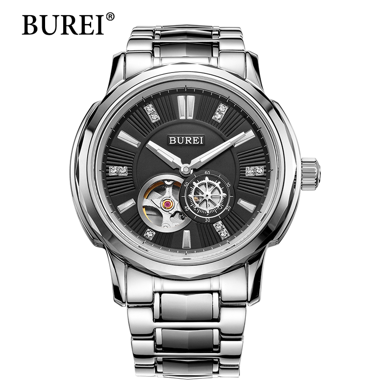 Men Mechanical Watches Original BUREI Top Brand Luxury Clock Steel Band Male Large Face Sapphire Waterproof Wristwatch Hot Sale burei men watch top brand luxury automatic male clock steel band day and date display white lens mechanical watches hot sale