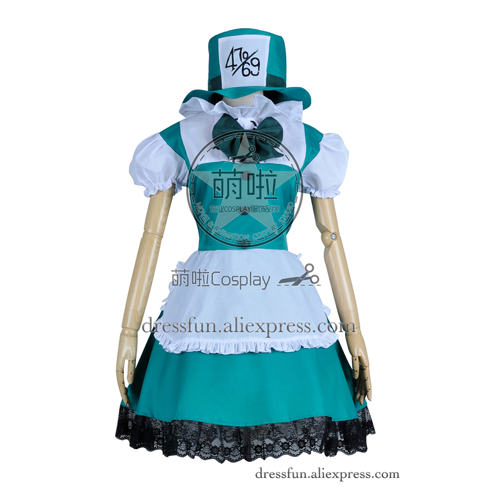 Alice in Wonderland Cosplay Mad Hatter Costume New Uniform Suit Outfits Halloween Party Fast Shipping Popular Green Dress
