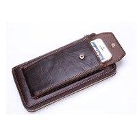 Vintage Men's Genuine Leather Wallets Male Cowhide Zipper Retro Phone Clutch Man Natural Leather Multi-function Purse MS9028