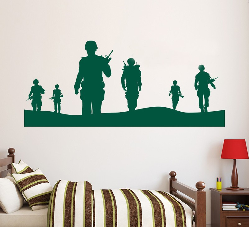 Army solider wall decal home decor vinyl poster military - Mens bedroom wall art ...