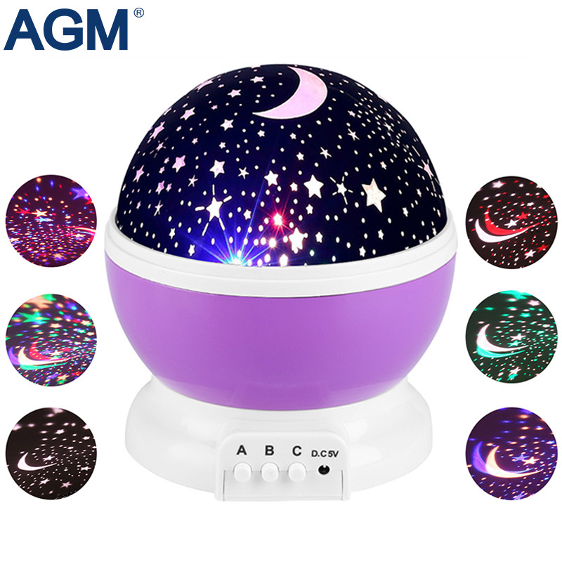 AGM Stars Starry Sky LED Night Light Star Projector Moon Table Lamp Lights Luminaria Novelty Nightlight For Kids пасха