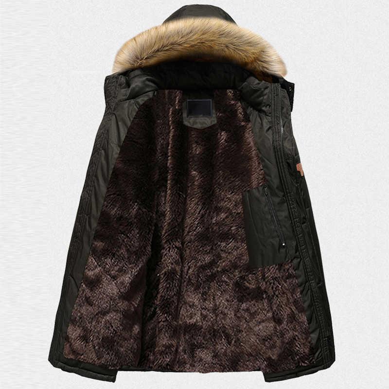 中年フード付き男性のコートプラスサイズ 6XL 7XL 8XL 毛皮の襟フード付きメンズジャケットとコートミリタリーデザイナーメンズパーカー A162