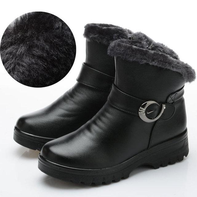 2016 Invierno Mujeres Nieve Botas de Mujer Plana Tobillo Patea Los Zapatos de Algodón Térmico Botas de Cuero de Las Mujeres Al Aire Libre a prueba de agua