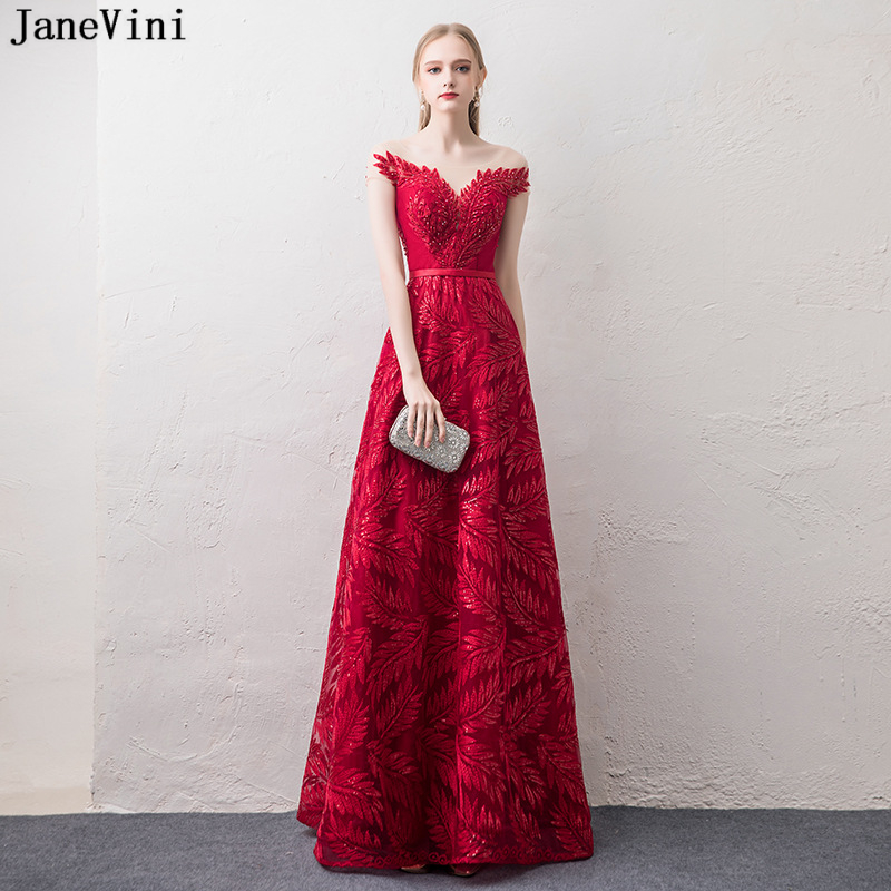 JaneVini 2018 Elegant A Line Burgundy Sequined Long   Bridesmaid     Dresses   Sheer Scoop Neck Backless Tulle Women Formal Party Gowns