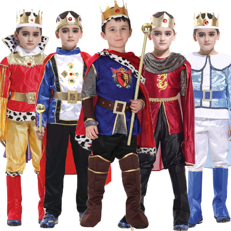 Umorden Halloween Purim Carnaval The King Prince Costume for Boy Jongens Kinderen Children Fantasia Infantil Cosplay Clothing Set