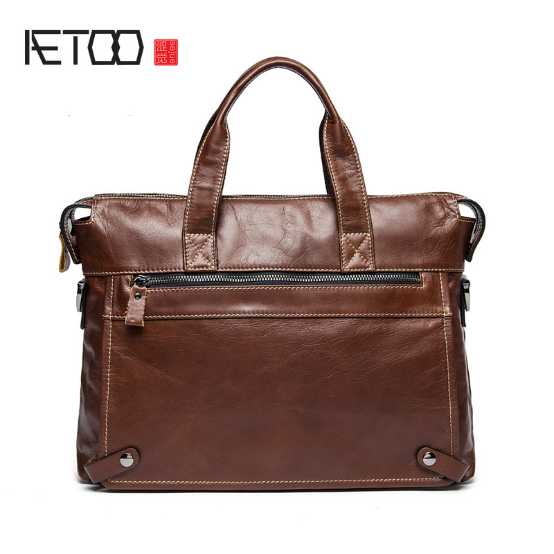 AETOO Europe and the United States leather men's bag leisure business briefcase first layer of leather cowhide shoulder Messenge europe and the united states style first layer of leather lychee handbag fashion retro large capacity solid business travel bus
