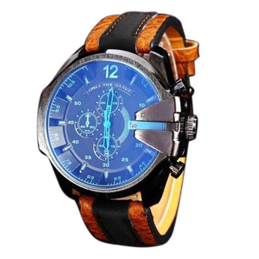 Creative Mens Analog Sport Steel Case Quartz Dial Synthetic Leather Wrist watch men military mens watch reloj montreCreative Mens Analog Sport Steel Case Quartz Dial Synthetic Leather Wrist watch men military mens watch reloj montre
