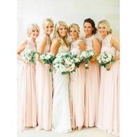 Vestido Madrinha Румяна розовое платье подружки невесты 2019 Line этаж Длина кружевное шифоновое платье для свадьбы праздничные наряды