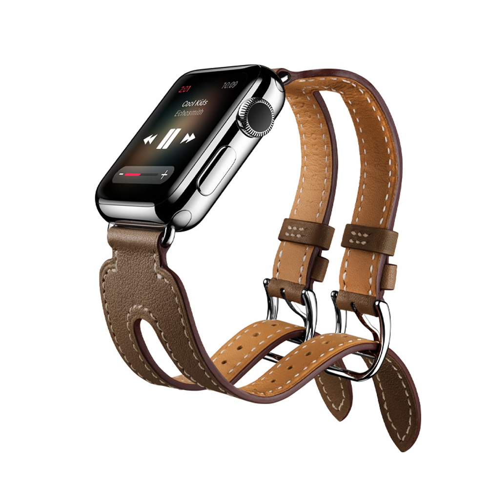 Watches Series 4/3/2/1 Real Leather Double Buckle Cuff Band For Apple Watch Strap 38mm 42mm 40mm 44mm Bracelet Leather Professional Design