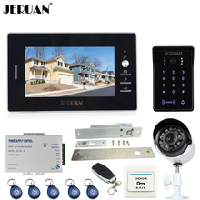 JERUAN 7 inch Video Door Phone intercom System kit waterproof RFID Password keyboard Access Camera + metal 700TVL Analog Camera