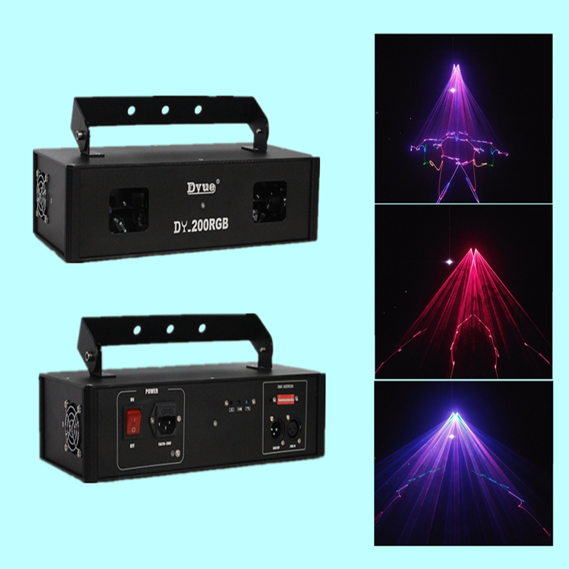 350mW RGB 2 Heads Laser Light Stepping Motor Party Laser Show Equipment For DJ Lighting Disco Light DMX Stage Effect Light