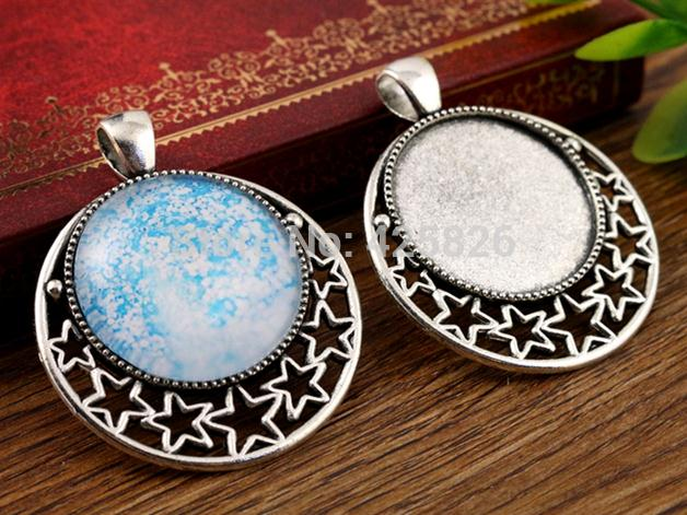 New Fashion 5pcs 25mm Inner Size Antique Silver Pierced Stars Cabochon Base Setting Charms Pendant (A4-21)