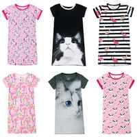 Vestido de verano para niños 3D de gato unicornio Panda Flamingo estampado de cisne vestido para niña pijamas niños camisón ropa de dormir del bebé